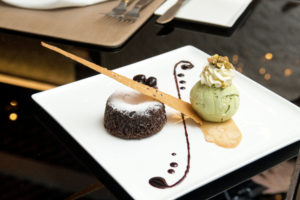 chocolate lava with green tea ice-cream