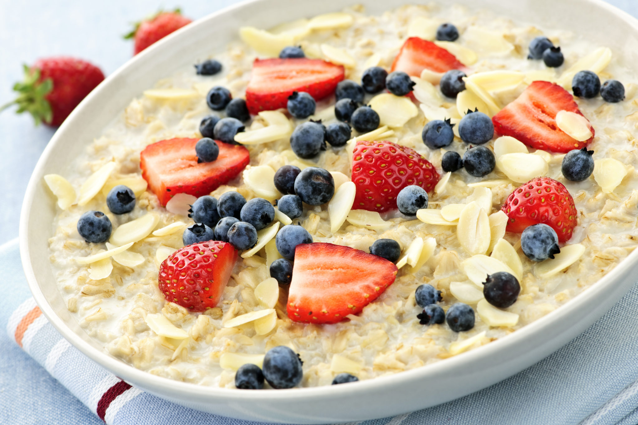 Oatmeal breakfast cereal with berries