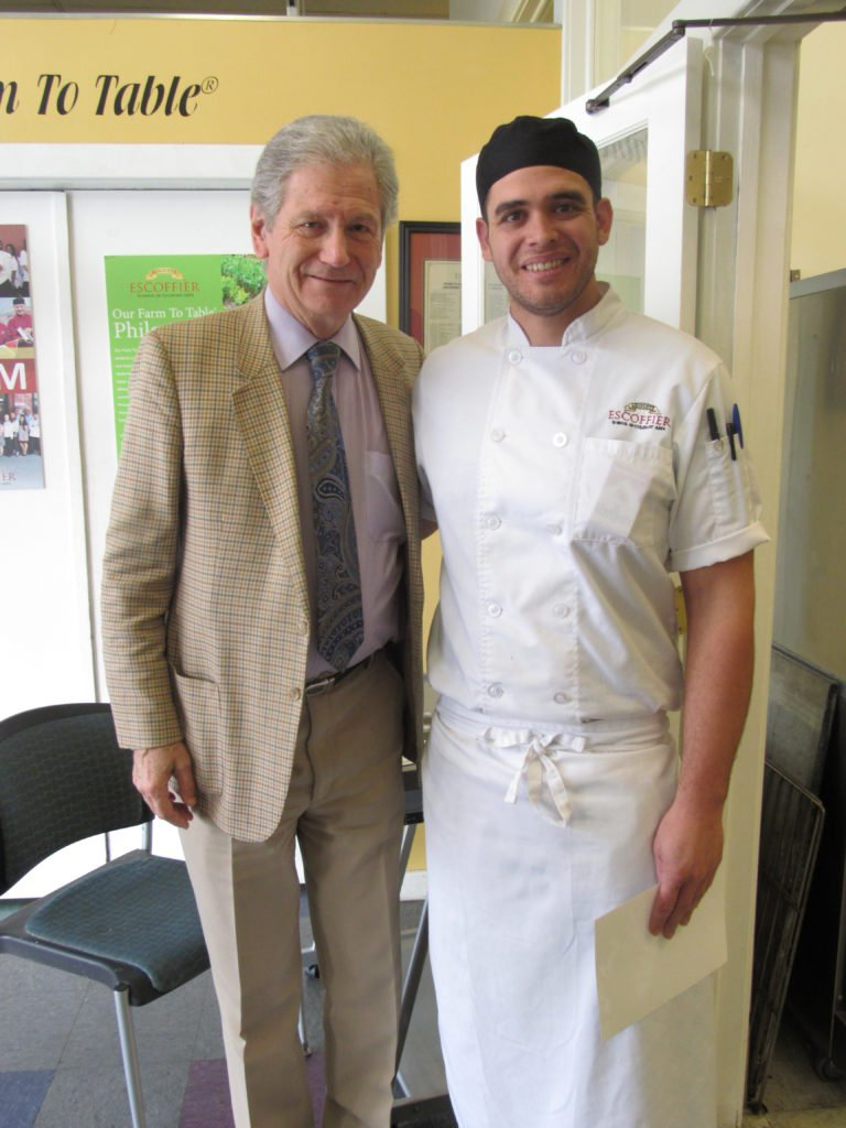 Michel Escoffier and Alexander Iverson, a student with Auguste Escoffier School of Culinary Arts-Boulder.
