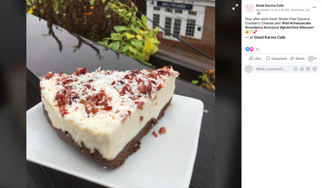 Good Karma Cafe in New Jersey posts a photo on Facebook of a slice of one of their pies
