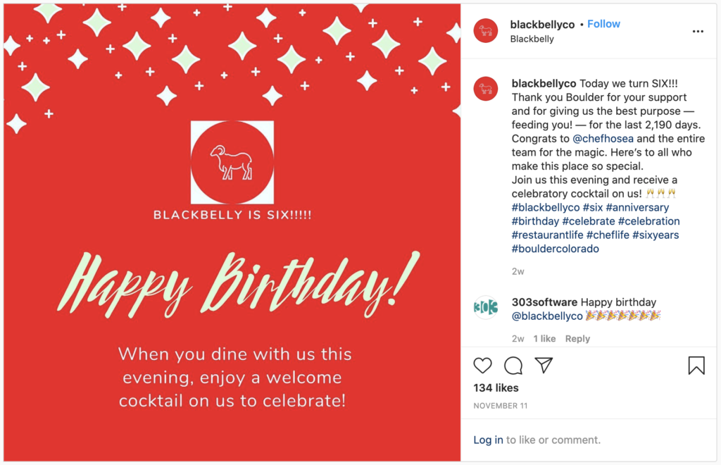 The Blackbelly Co. shares a promotion on Instagram to celebrate their sixth birthday