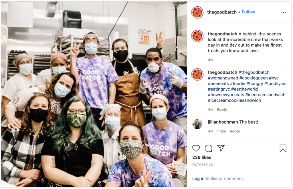 The Good Batch shares a photo of their staff in the kitchen on Instagram