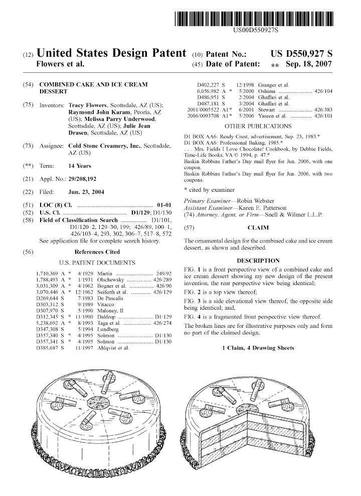 Cold Stone design patent