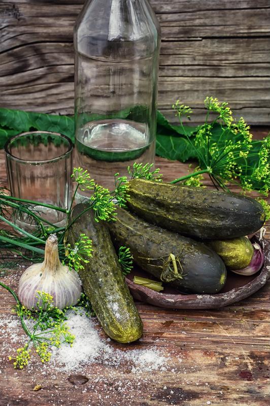 An assortment of classic pickling supplies.